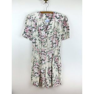 Vintage Floral Romper with Faux Pearl Buttons